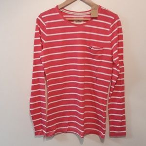Hollister NEW Pink Stripe Pocket Tee L